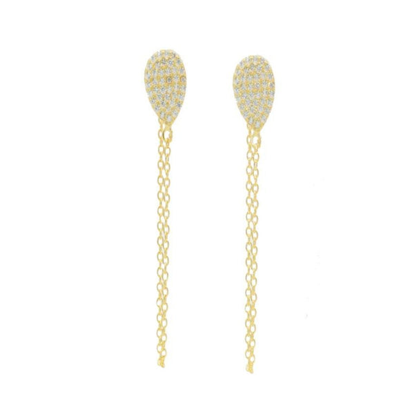 14k Gold over Silver Ball & Chain Studs, 1.75""