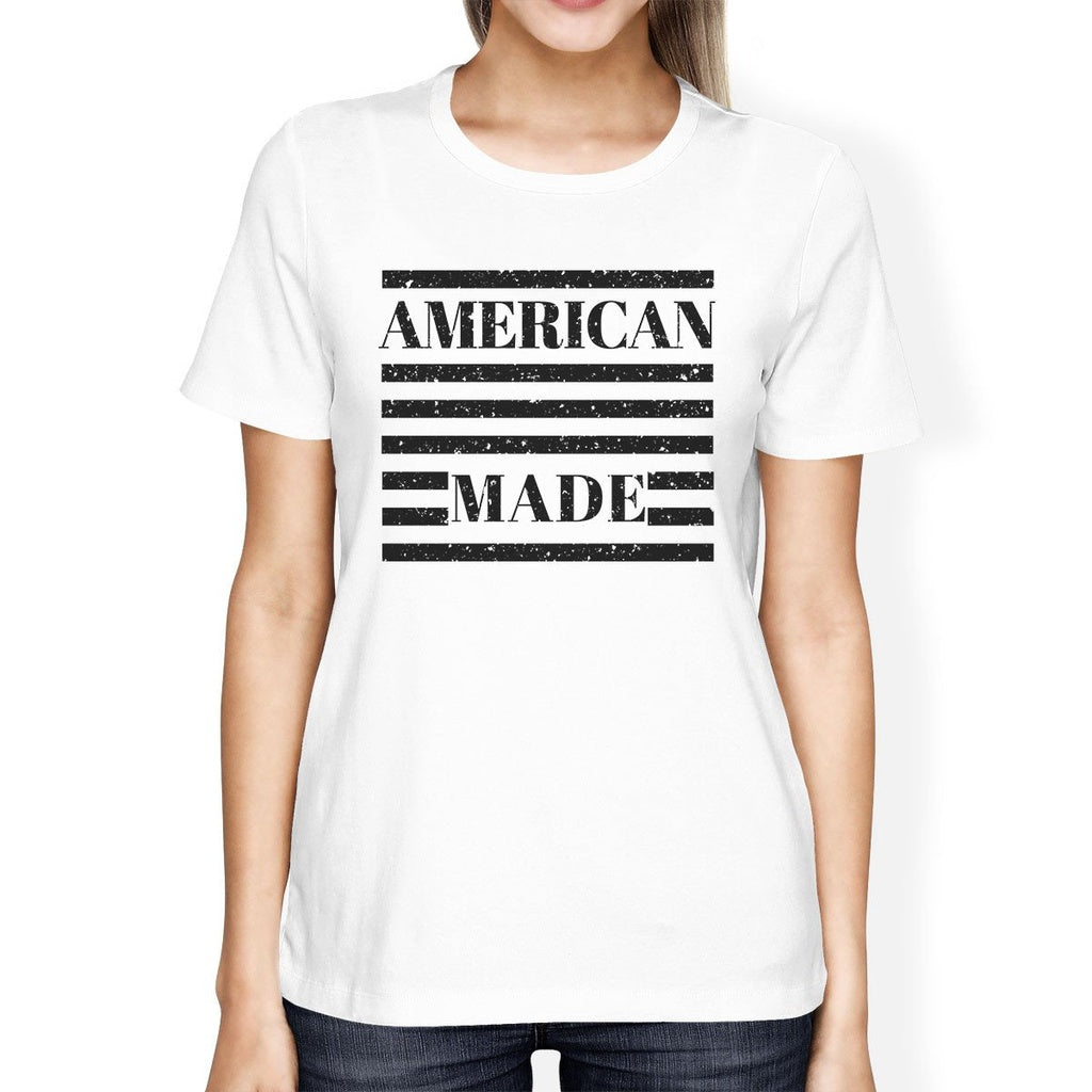 American Made Womens White Fourth Of July Decorative Graphic Shirt