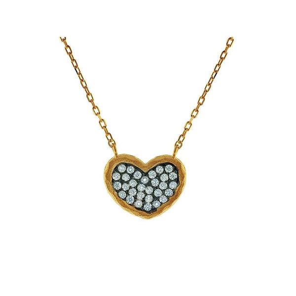 "Sparkling Cubic Zirconia Black Hammered Heart Pendant Necklace in Vermeil, 15 + 2"" Extender"