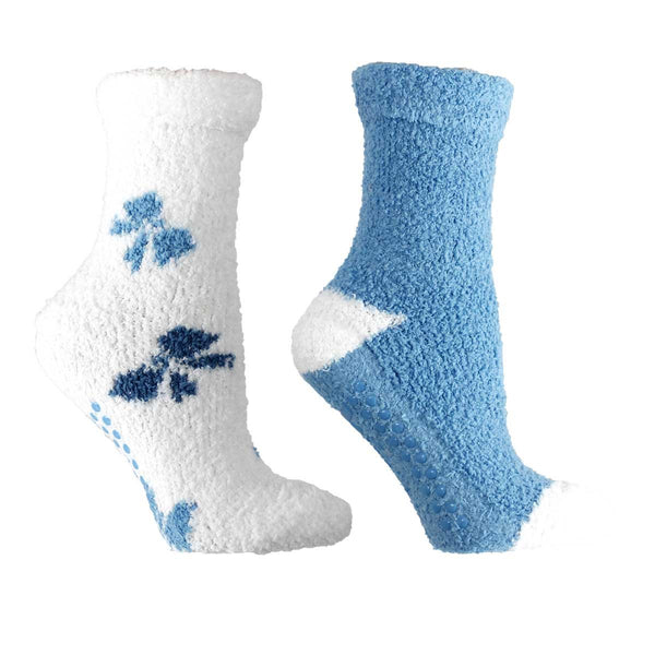 "Women's Non-Skid Lavender Infused Slipper Socks, 2-Pair Pack With Lavender Sachet Gift, ""Bows"""
