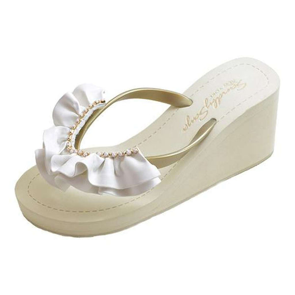 White Rockaway Ruffles – High Wedge Sandal