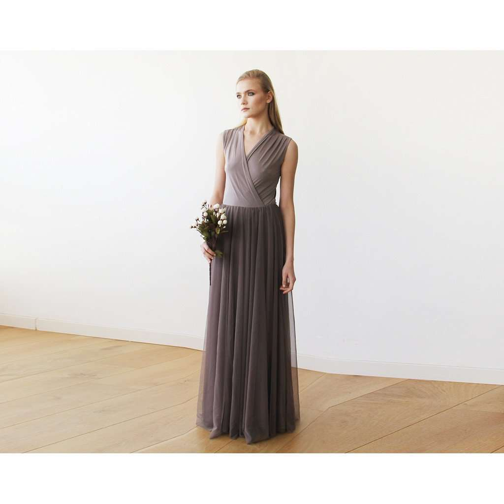Taupe Sleeveless Tulle Maxi Dress 1076 - www.ettuet.com