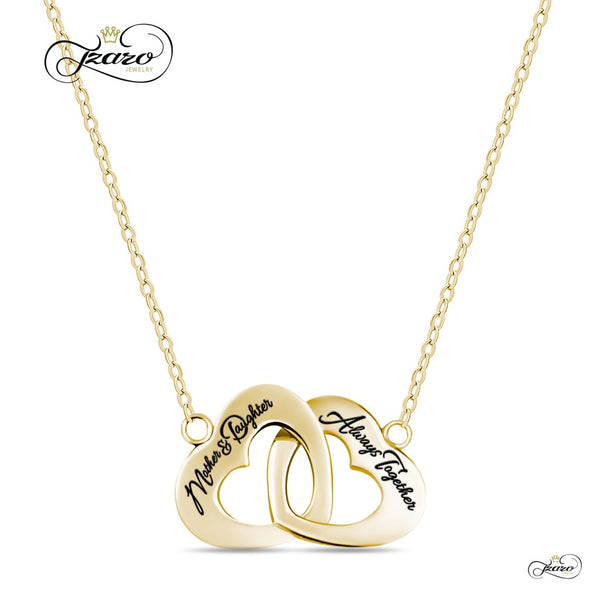 Mother Daughter Necklace, 925 Sterling Silver, 14K Gold Plated Interlocking Heart Necklace