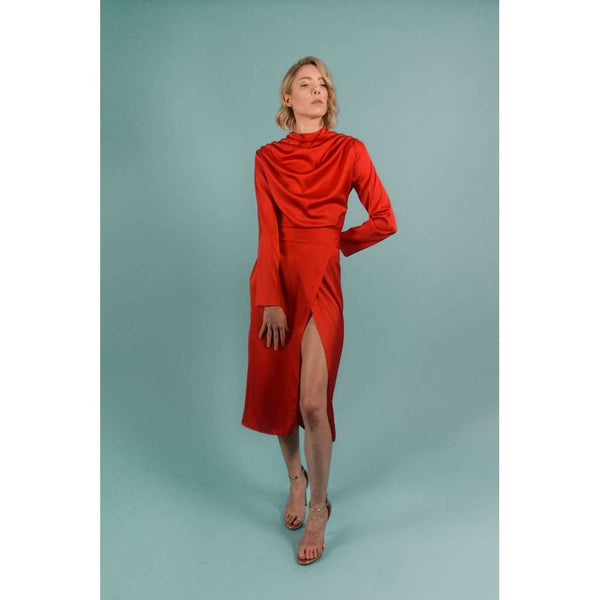 d86fecc88e6 Red Silk Turtleneck Draped Midi Dress. Red Silk Turtleneck Draped Midi  Dress · Bastet Noir