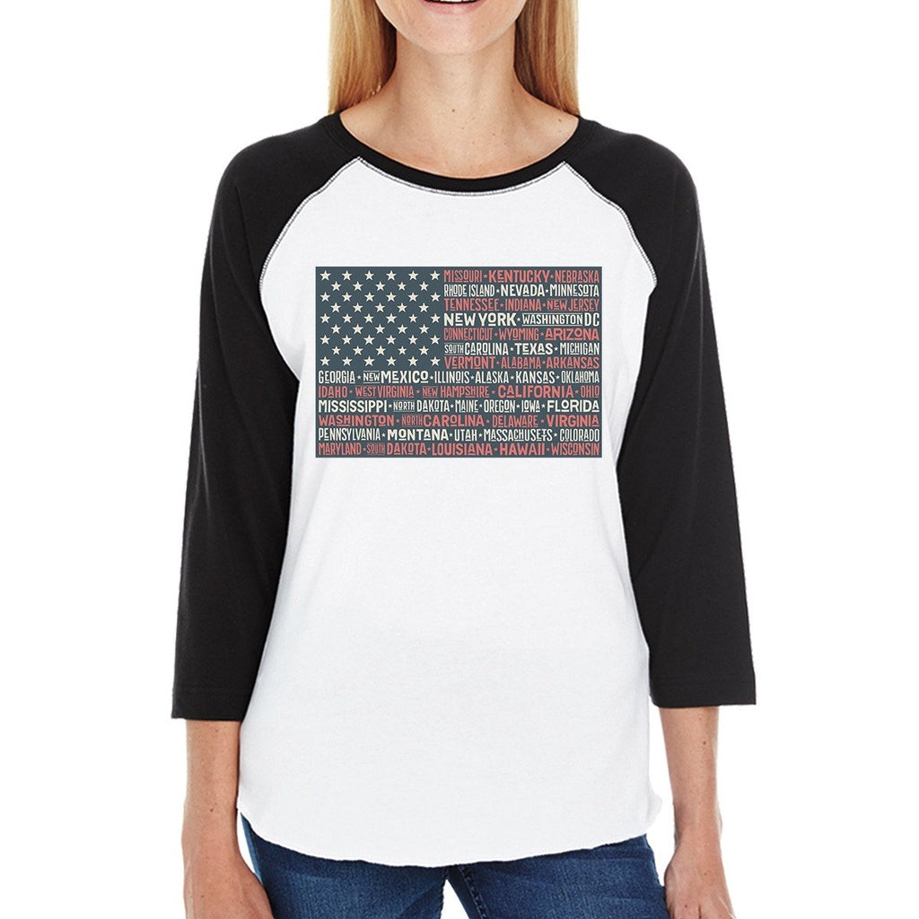 50 States Us Flag Womens Black Graphic Raglan Tee Cotton Round Neck
