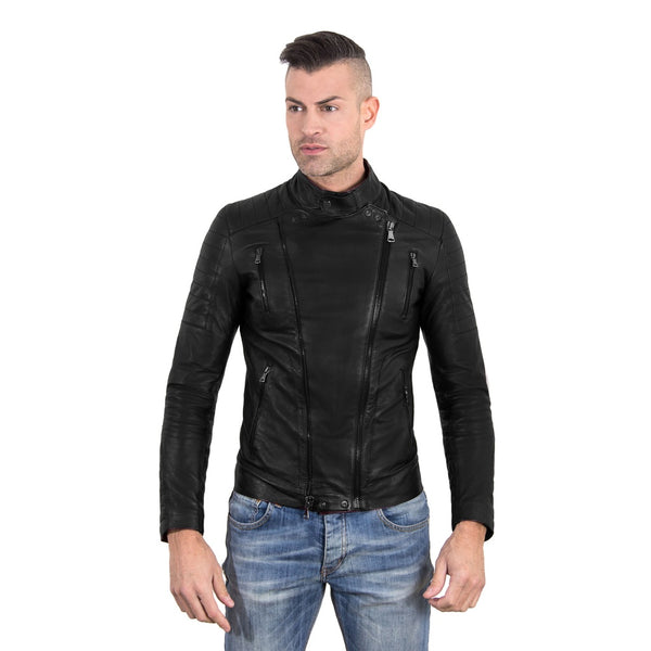 Men's Leather biker Jacket leather biker quilted yoke black color Kevin