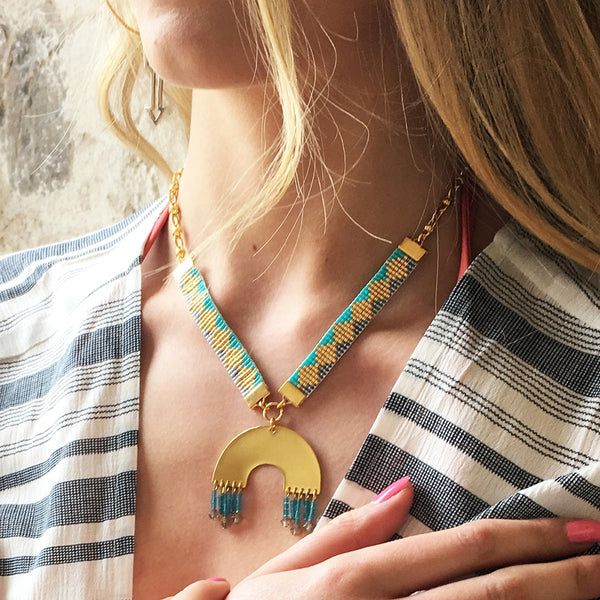 Sundown Woven Beaded Necklace - Turquoise