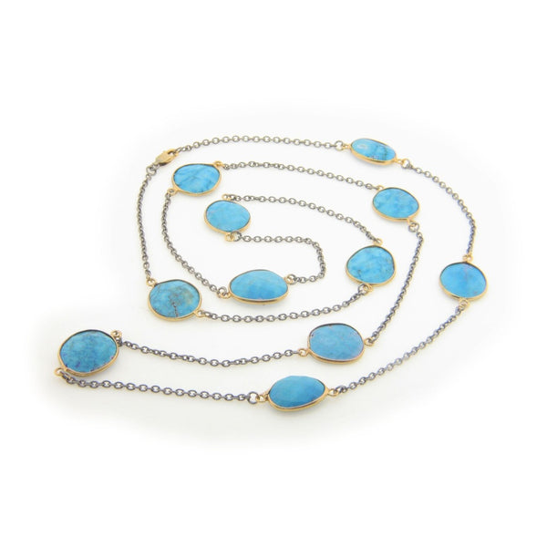 Natural Turquoise Station Necklace (Oxidized)