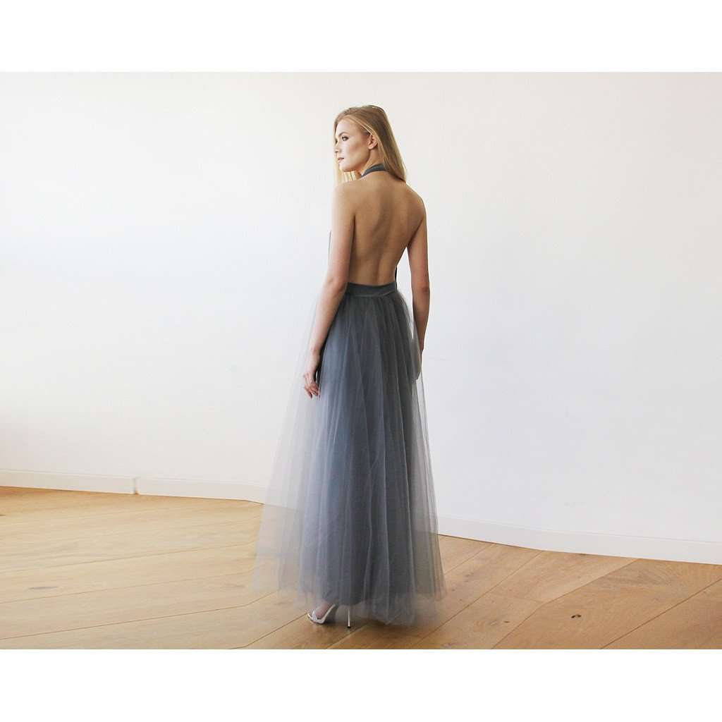Dark Grey Halter and Tulle Maxi Gown 1121 - www.ettuet.com