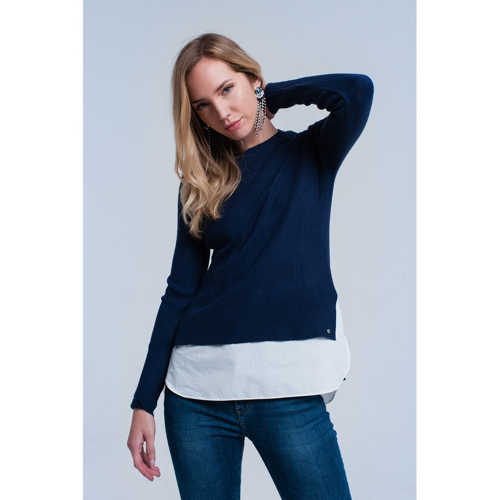 Navy sweater with shirt