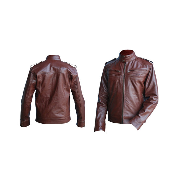 Men Reddish Brown Genuine Leather Jacket