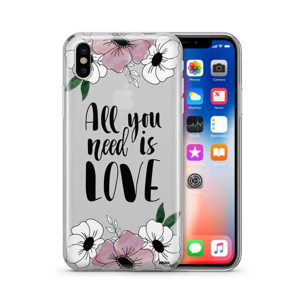 All You Need Is Love (Floral) - Clear TPU Case Cover