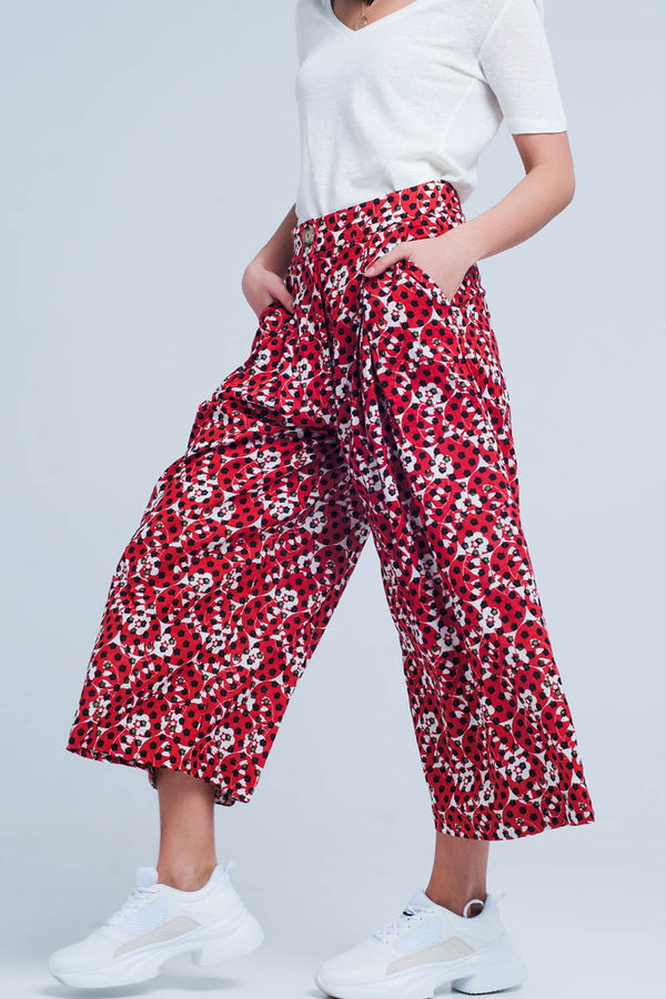 red wide leg spot culottes Pants