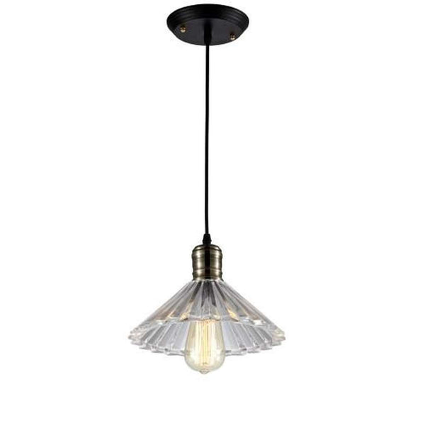 Ribbed Glass Light Pendant - Bulb Included, Clear/Antique Brass