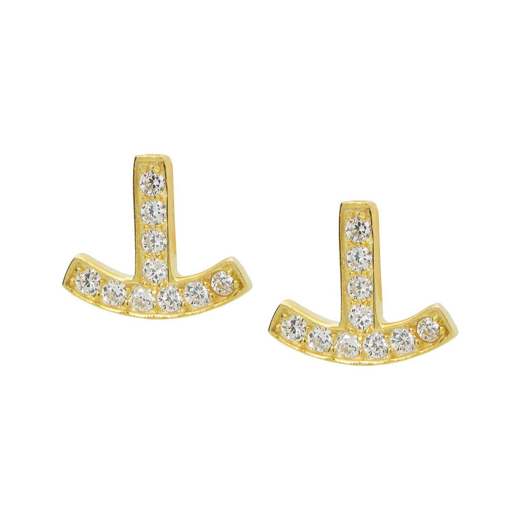 Gold Anchor Earrings with Brilliant Cubic Zirconia Stones |Sterling Silver by Fronay Collection - www.ettuet.com