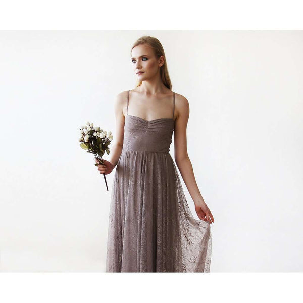 Taupe Sweetheart Neckline Lace Maxi Dress 1080