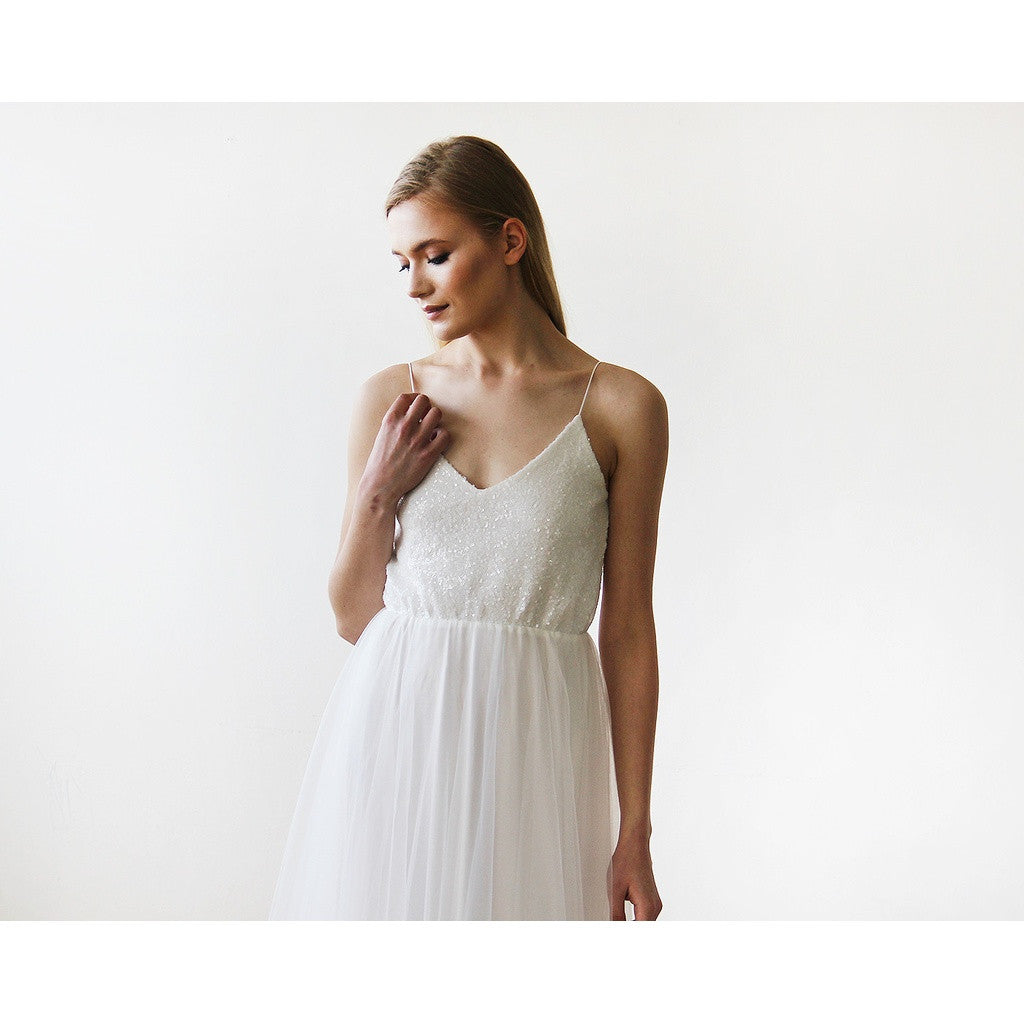 Ivory Sequin and Tulle Maxi Bridal Gown 1120 - www.ettuet.com