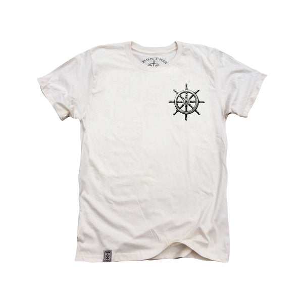 Captain's Ship Wheel ll: Organic Fine Jersey Short Sleeve T-Shirt in Unbleached Natural