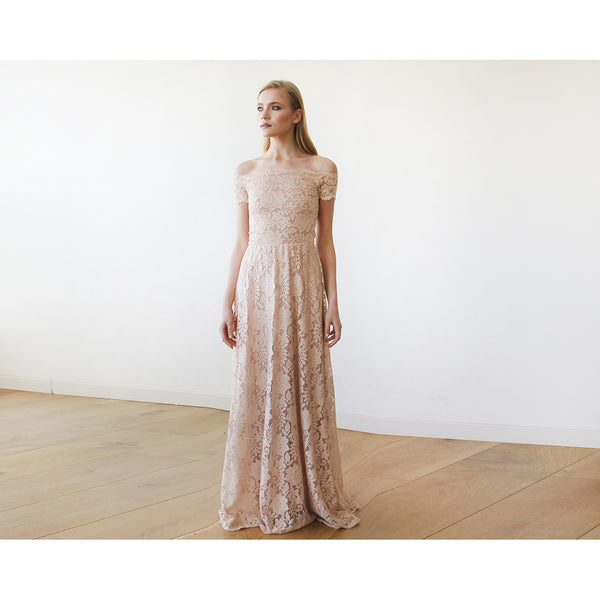 286862fd6875 Off-The-Shoulder Blush Pink Short Sleeves Lace Maxi Dress 1142