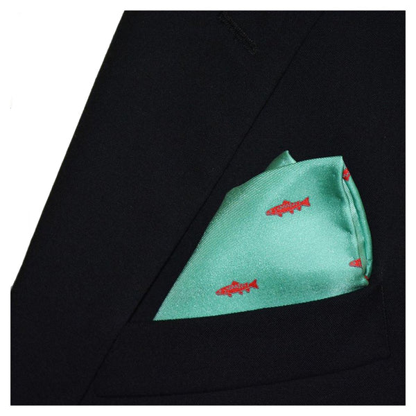 Trout Pocket Square - Light Green