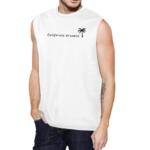 California Dreaming Mens White Sleeveless Summer Muscle Tee Cotton