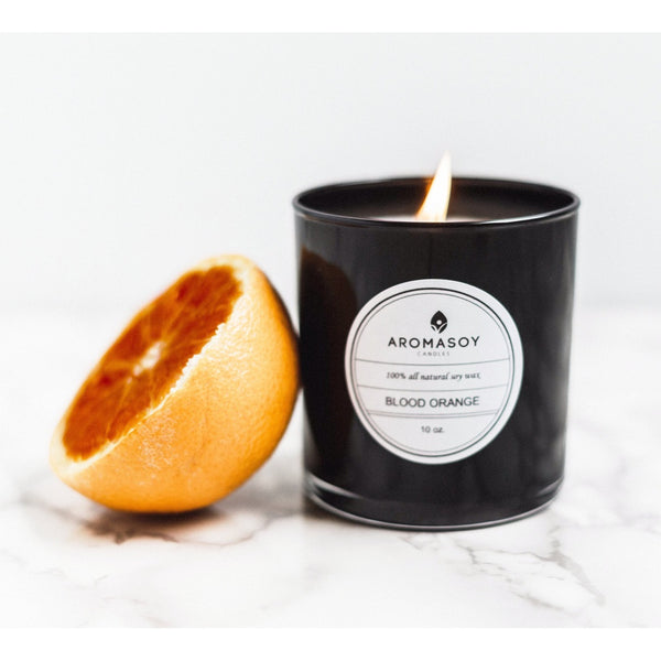 BLOOD ORANGE Soy Candle Black Glass 10 oz