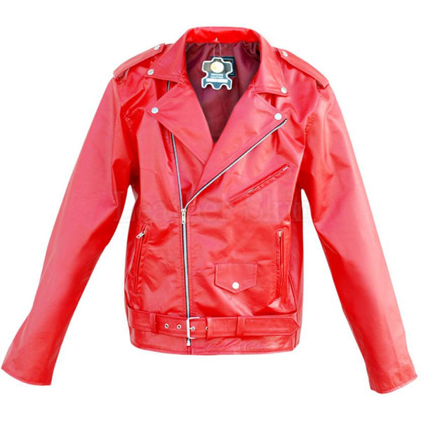 Men Punk Red Belted Leather Jacket