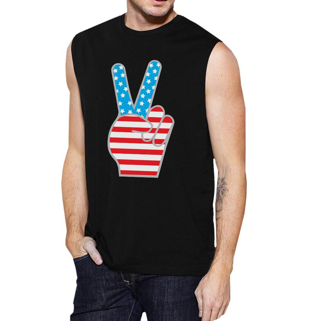 American Flag Cute Peace Sign 4th Of July Muscle Tee For Men Cotton
