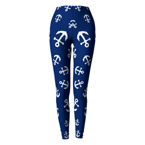 Anchor Pinwheel Leggings - Navy