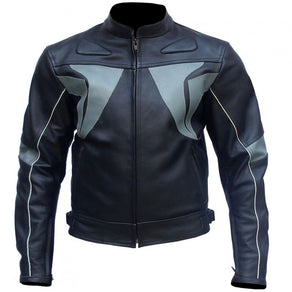 Black Gray Stripes Biker Leather Jacket