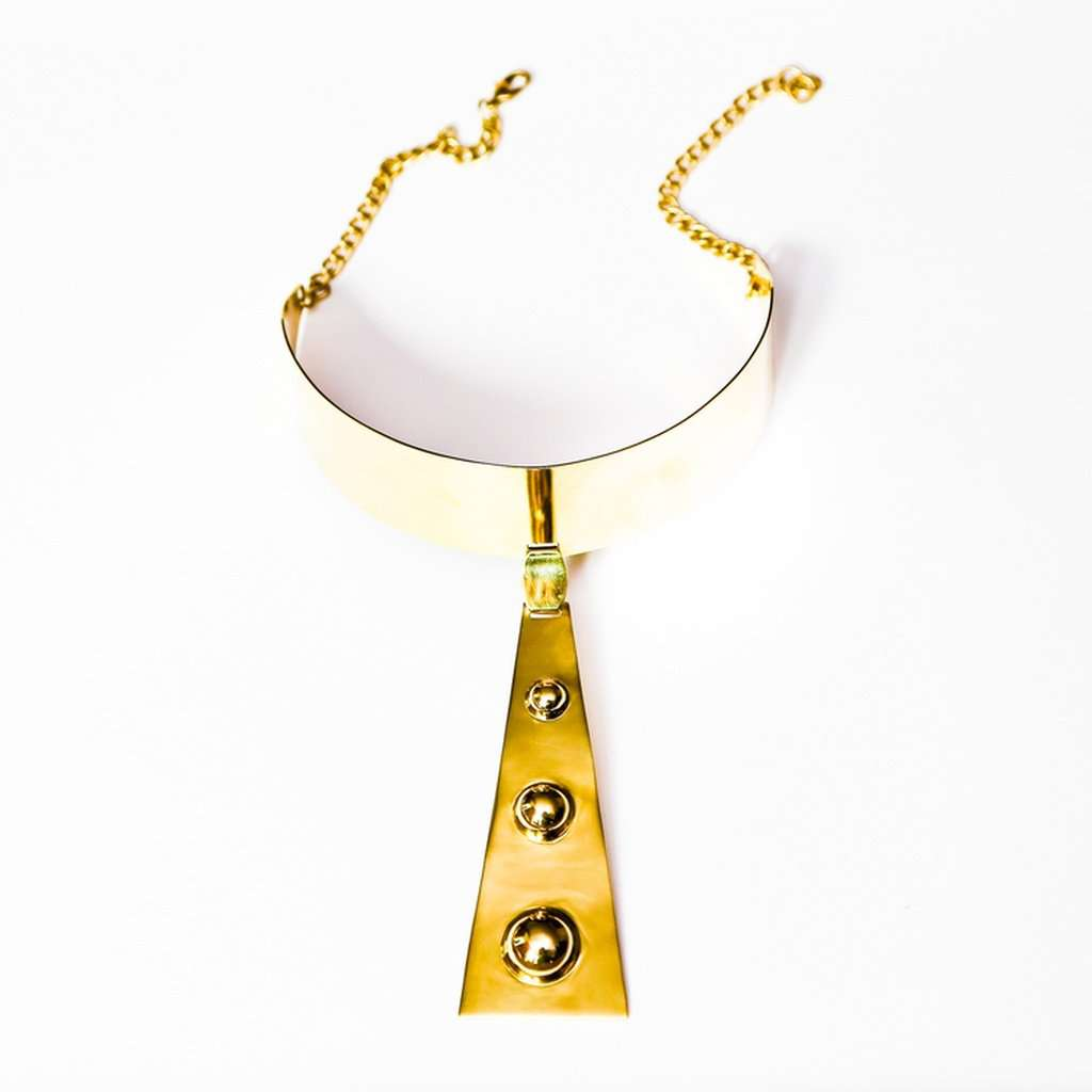 Space age collar necklace