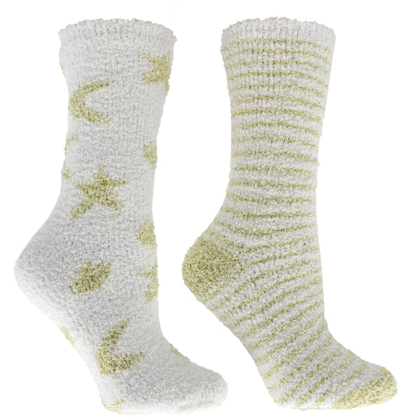 Women's Non-Skid Eucalyptus Mint and Shea Butter Infused 2-Pair Pack Slipper Socks With Sachet Gift