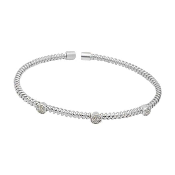 Twisted Diamond Station Bangle Bracelet 925 Sterling Silver, .21Ct