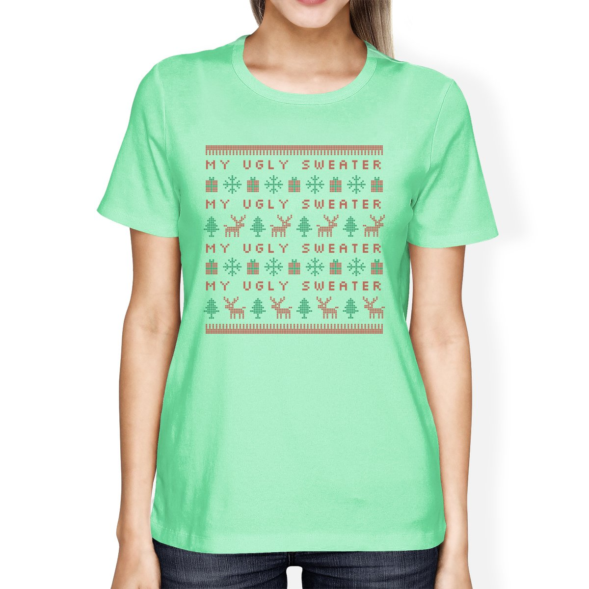 My Ugly Sweater Pattern Womens Mint Shirt