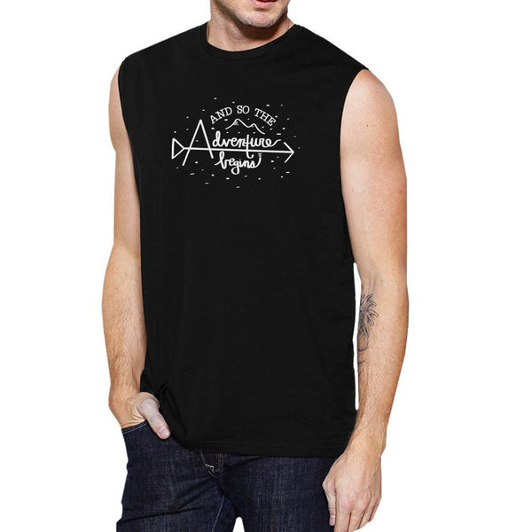 And So The Adventure Begins Mens Black Muscle Top