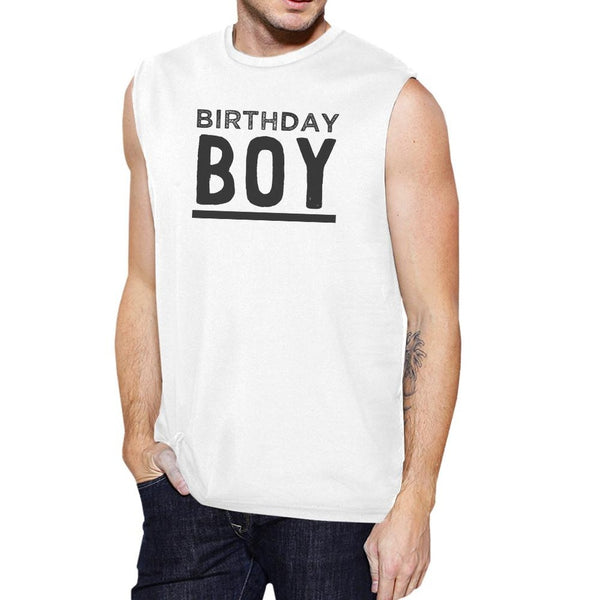 Birthday Boy Mens White Muscle Top