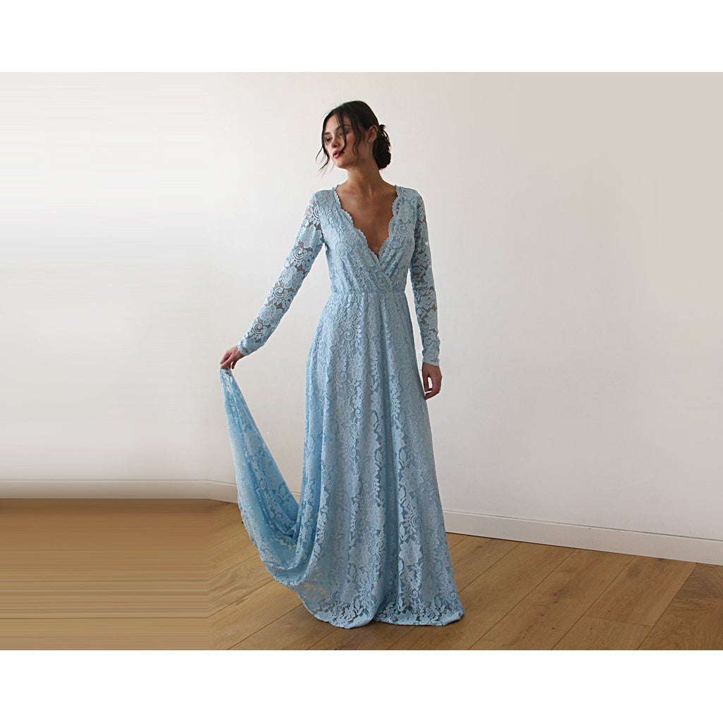 Light Blue  Wrap Floral Lace Long Sleeve Gown with a Train 1151