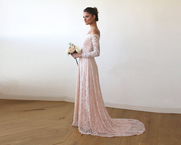 d06e0babd063 Baby Pink Off-The-Shoulder Floral Lace Long Sleeve Gown With Train 1148