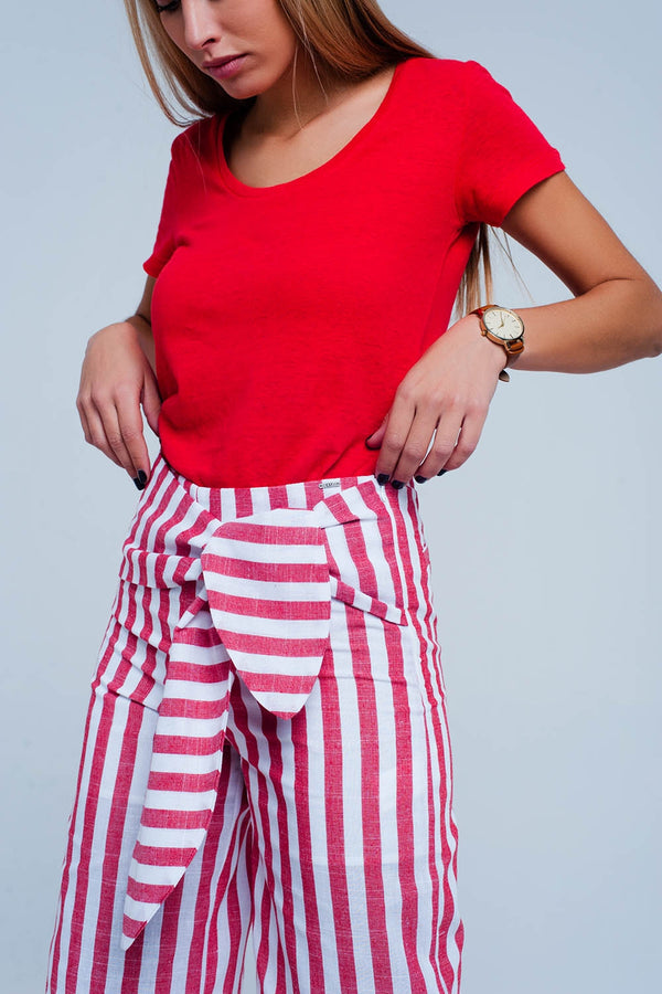 Red Tie Waist Pants in stripe