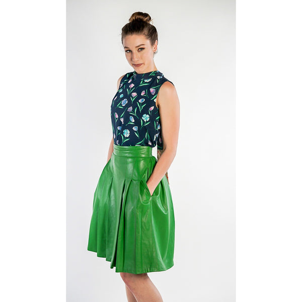 Green Leather Skirt - www.ettuet.com