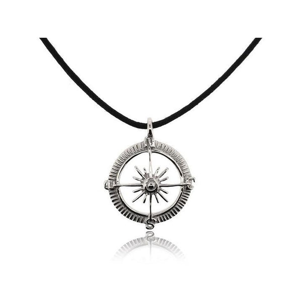 BLACK COMPASS CORD NECKLACE