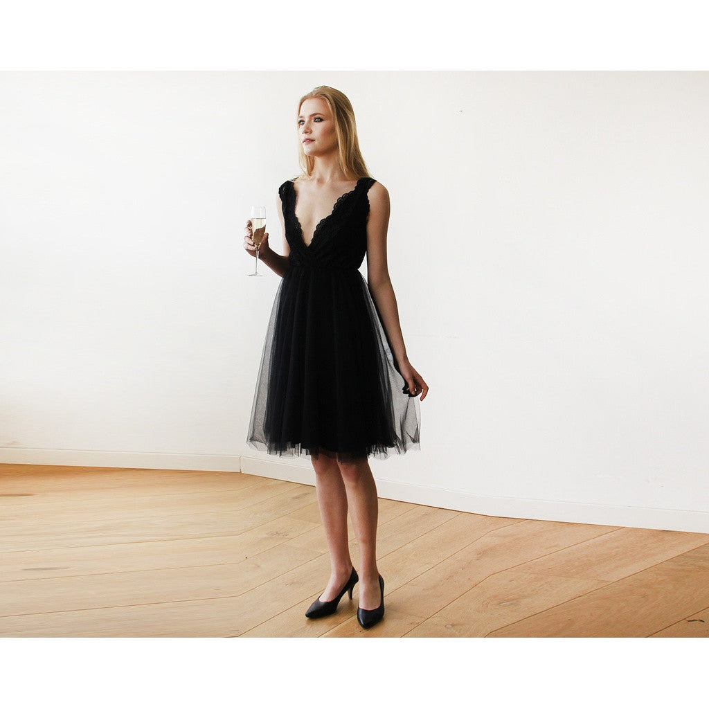 Black Tulle and Lace Short Dress 1157 - www.ettuet.com