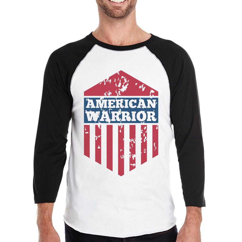 American Warrior Mens Black Baseball Jersey 3/4 Sleeve Tee Cotton