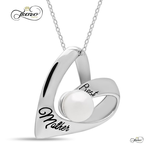 Elegant Mother Heart Necklace, 925 Silver, Silver Plated Necklace for Mom