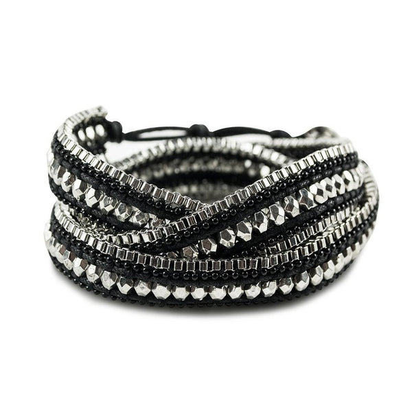 Double Looped Bracelet- Midnight Black