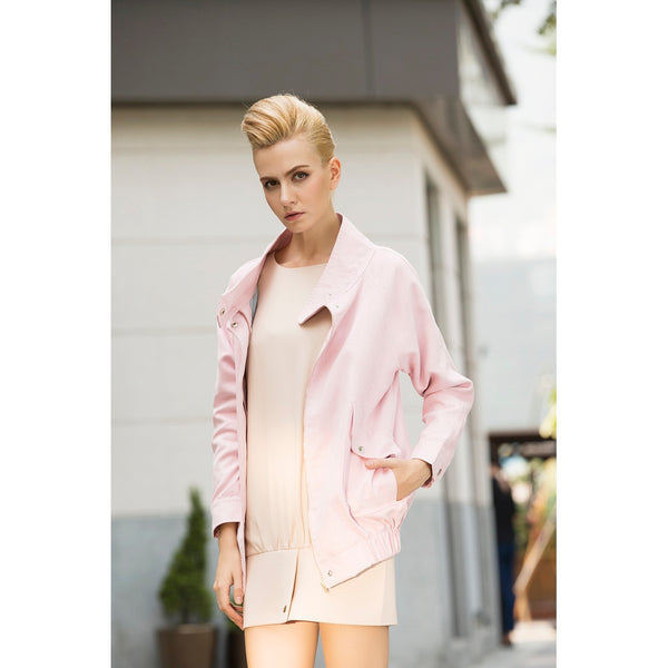 Rebel in Pink Faux suede Oversized jacket