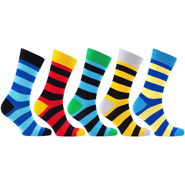 Men'S 5-Pair Fun Striped Socks-3063