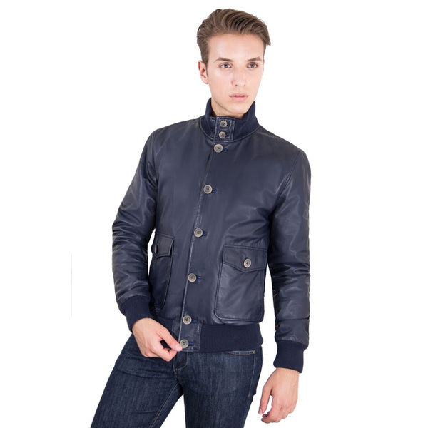 Men's Genuine Leather Bomber Jacket Blue Color