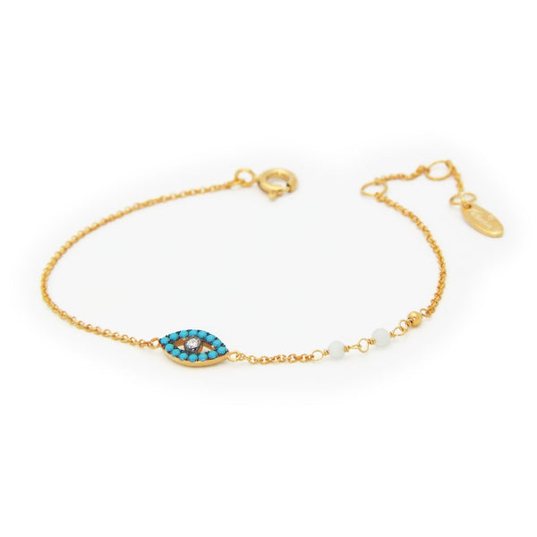 Nano Turquoise Evil Eye Bracelet in 18k Gold Plated Silver