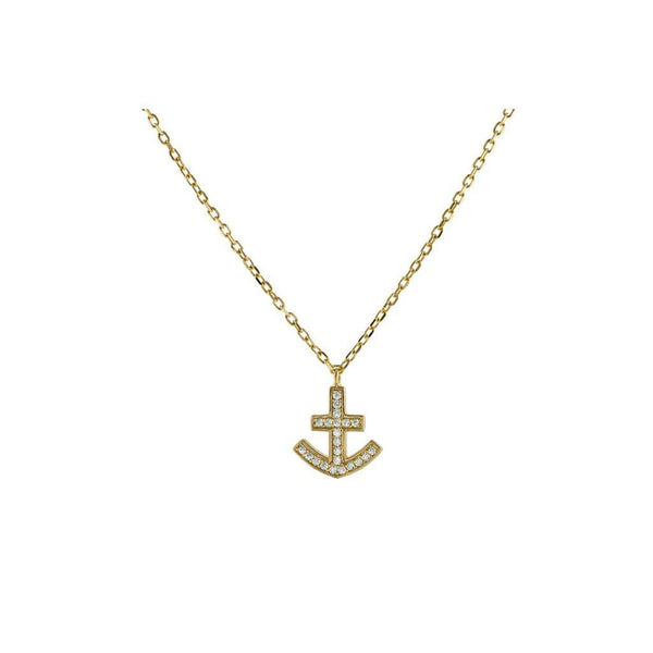 "Sparkling Cz Anchor Necklace in Vermeil, 15"" Long"